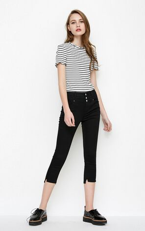 Vero Moda Women's Frilled Stripe Slim Fit Short-sleeved Knit Tops|318201508