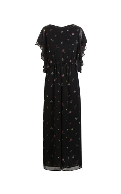 Vero Moda Printed Ruffled Cropped Wide-leg Jumpsuit|318144518, Black, large