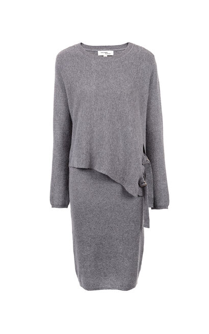 Vero Moda Layered Design Two-piece Knitted Dress|317446517, Grey, large