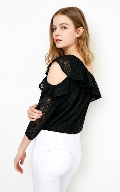 Vero Moda camisole ruffled cropped sleeve lace top & blousers |318230514, Black, large