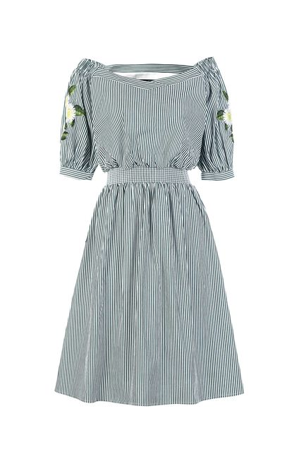 Vero Moda summer stripe board neck embroidery Middle-length dress |31827C506, Avocado, large