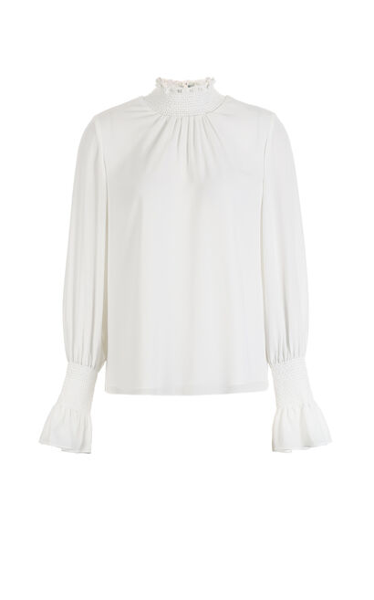 Vero Moda women's Frilled Mock neck ruffled sleeves chiffon blouse|318151502, White, large