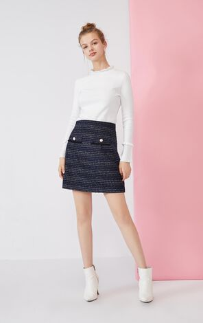 Vero Moda Sheep Wool Tweed Decorative Pocket Back Zip Skirt|320116501