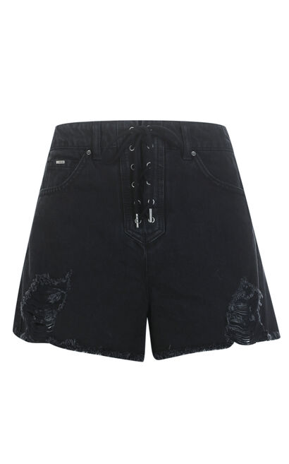 BISS HW DENIM SHORTS(FL), Black, large