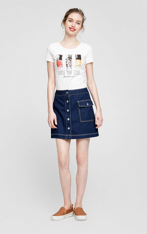 Vero Moda Visible Stitches Buttoned A-lined Skirt|317137512