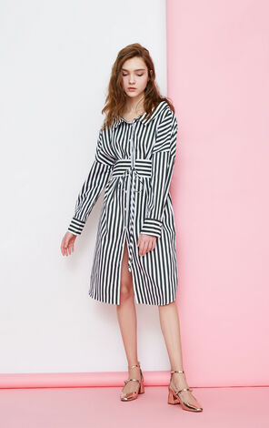 Vero Moda Women's 100% Cotton Striped Boat Neck Dress|318205504