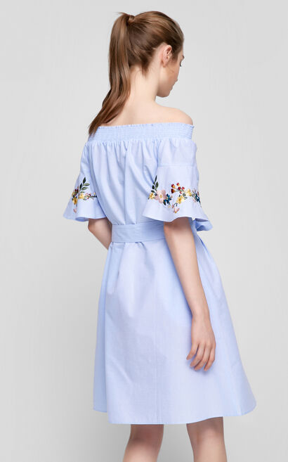Vero Moda Off-the-shoulder Embroidered Dress|31727B518, Blue, large