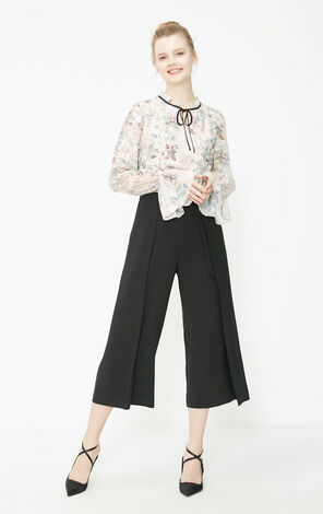 Vero Moda 2019 Spring New Women's See-through Lace Splice Floral Chiffon Shirt