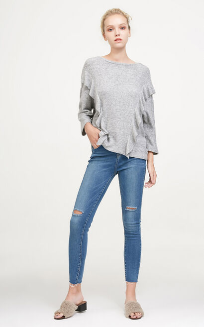 Vero Moda Frilled Knitted Tops|317430525, Blue Gray, large