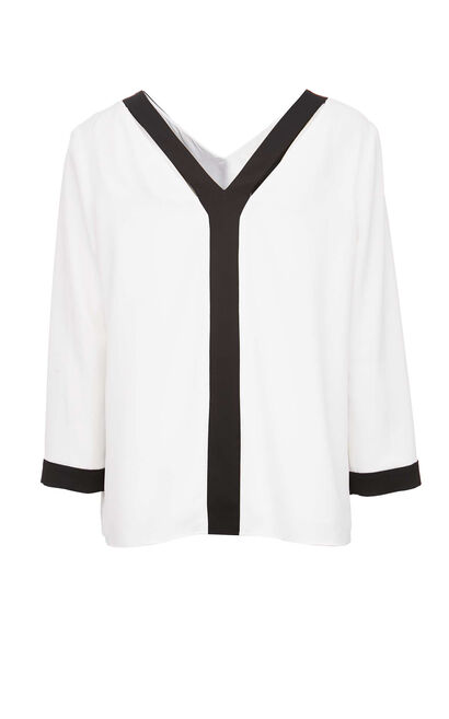 Vero Moda Women's V-neckline Spliced Chiffon Shirt|320158513, White, large