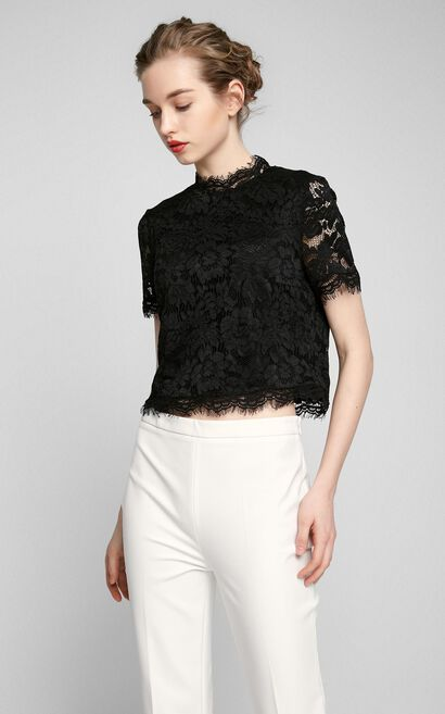 Vero Moda Laced Fabric Tiny Stand-up Collar Short-sleeved Lace T-shirt|317201571, Black, large