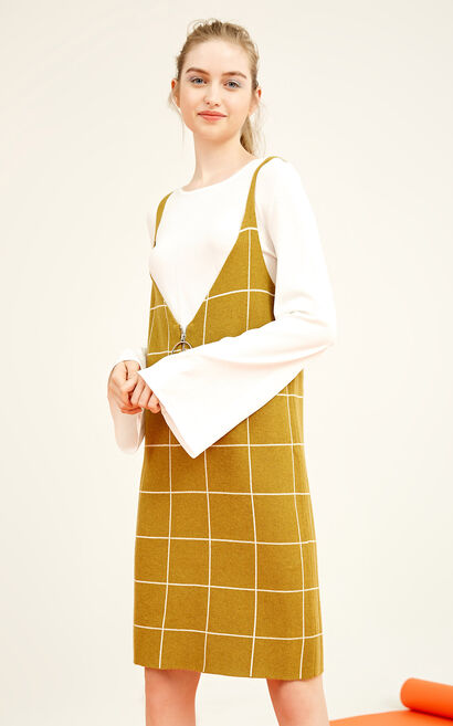 Vero Moda Two-piece Plaid Knitted Dress 317446518, Gold, large