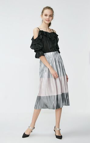 Vero Moda 2019 Pearly-lustre Assorted Colors Pleated Skirt|31921G501