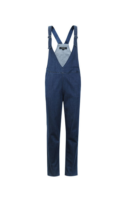 Vero Moda Rolled Cuffs Stretch Cotton Denim Overalls |317164501, Blue, large