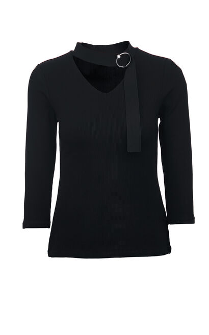 Vero Moda V-neckline 3/4 Sleeves Dress Knit Tops|319330512, Black, large