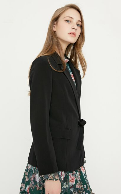 Vero Moda Women's OL Style Waist Belt Slim Fit Blazer|318108518, Black, large