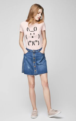 Vero Moda Crew Neck Rabbit Motif White SS T-Shirt |317101503