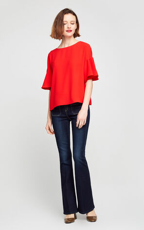 Vero Moda Ruffle Sleeve Regular Fit Chiffon Shirt|31726X519