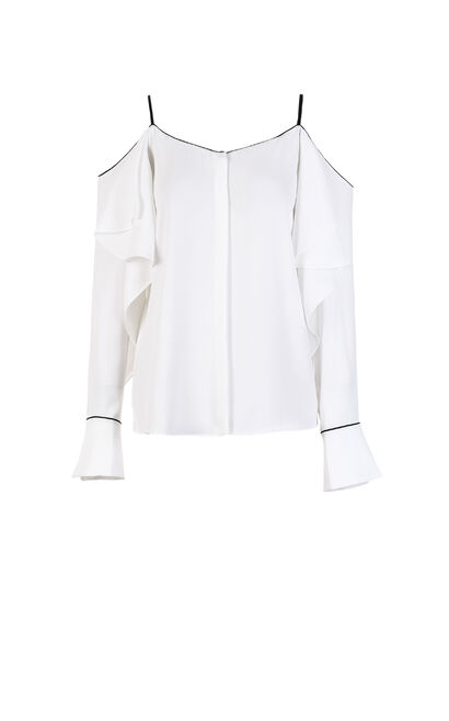 Vero Moda Women's Ruffled Off-Shoulder Chiffon Blouse|318205506, White, large