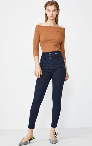 Vero Moda Women's Slim Fit High-rise Bead String Crop Jeans |319349541
