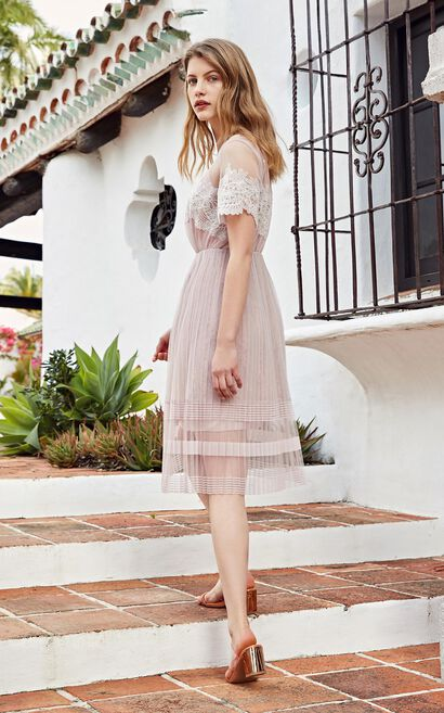 Vero Moda 2019 new lace pleated mid-length A-line dress|31927B565, Pink, large