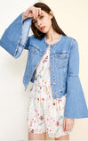 Vero Moda Women's Raw-edge Round Neckline Flare Sleeves Denim Jacket|318257505, Blue, large