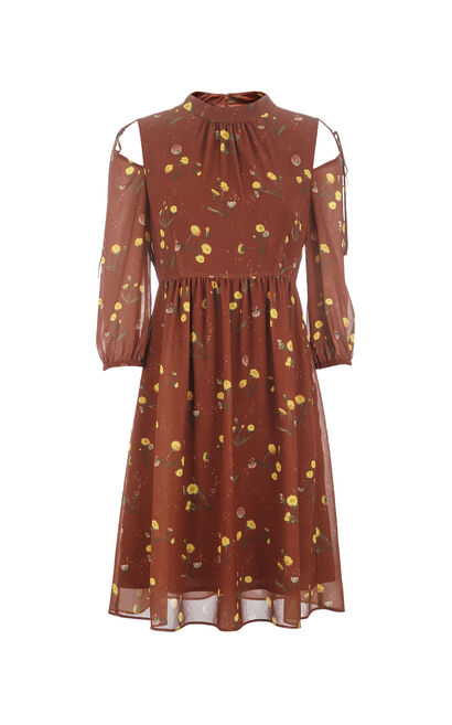 Vero Moda Printed Off-the-shoulder 3/4 Sleeves A-line Dress|31717C521, Brown, large