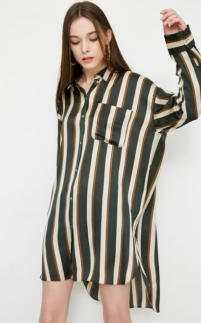 Vero Moda Women's Stripe Pattern Two-way Sleeves Mid-length Shirt|318205520, Avocado, large