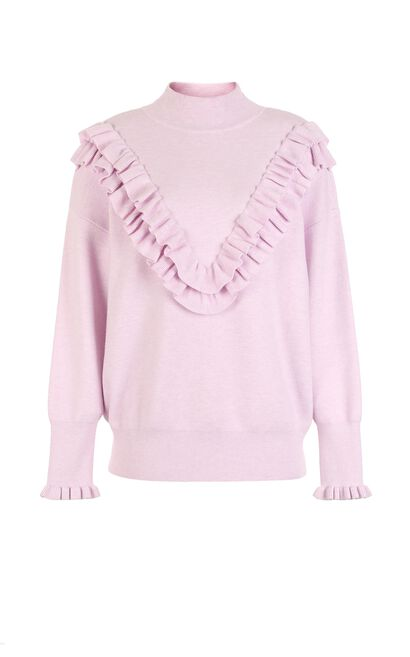 Vero Moda Women's Frilled Knitted Sweater|317413504, Pink, large