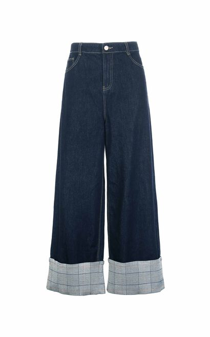 Vero Moda 2018 Winter Houndstooth Cuffs Loose Fit Wide-leg Jeans , Blue, large