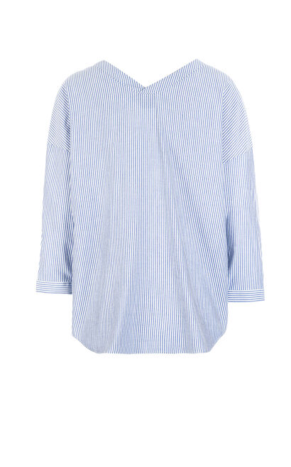 JUDY STRIPE 3/4 SHIRT(NR), Blue, large