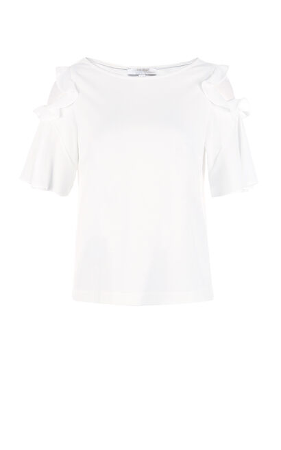 Vero Moda Off-the-shoulder Ruffled Flared Sleeves Stretch Chiffon Shirt|317201720, White, large