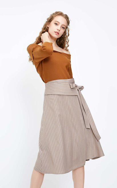 Vero Moda 2018 Autumn Ins Style Striped Lace-up Mid-rise Skirt , Brown, large