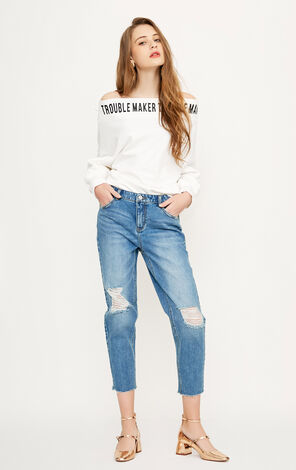 Vero Moda Women's Ripped Crop Jeans | 318149569