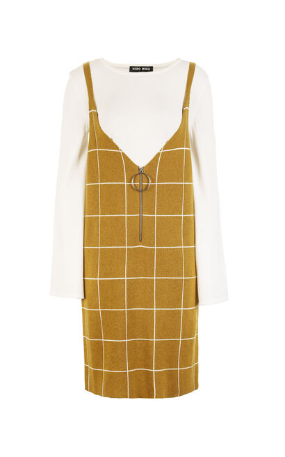 Vero Moda Two-piece Plaid Knitted Dress|317446518, Gold, large