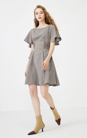 Vero Moda Ruffled Sleeves Side Lace-up Drawstring Plaid Dress|31936Z527