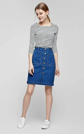 Vero Moda Sing-row Button A-line Denim Skirt|317137519
