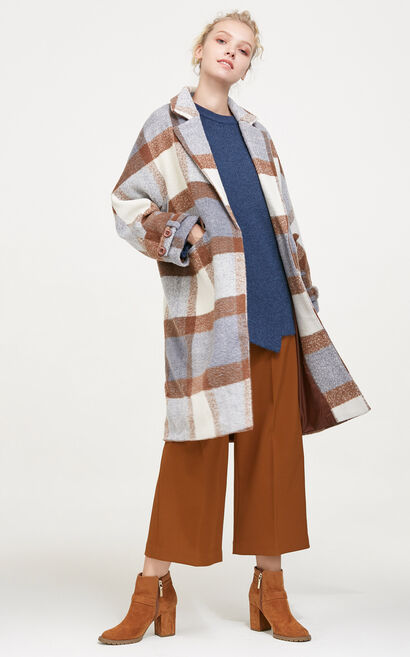Vero Moda Plaid Pattern Long Coat|317427509, Brown, large