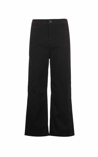 Vero Moda 2018 Autumn Side Seam Press-stud Slits Striped Wide-leg Jeans , Black, large