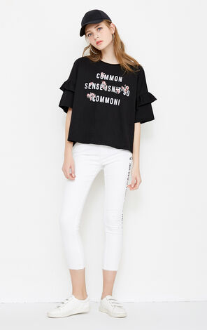 Vero Moda Women's Loose Fit Letter Embroidery Drop-shoulder Sleeves T-shirt|318201513