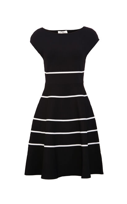 Vero Moda Women's Sleeveless Round Neckline Colored Striped Knit Dress|319346504, Black, large