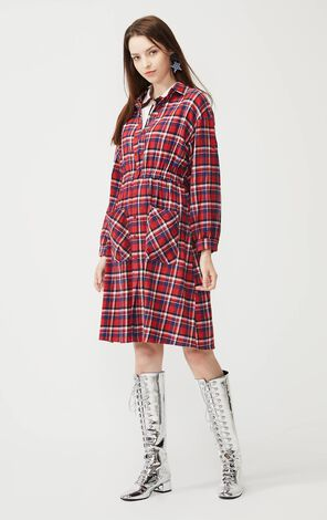 Vero Moda Red Plaid Print Shirt Dress|3201SZ506