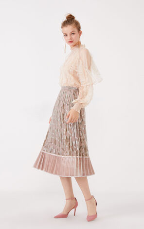 Vero Moda Velvet Gauzy Pleated Skirt|319316536