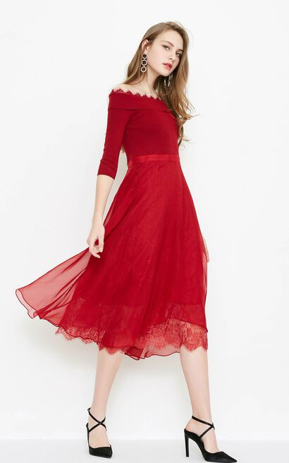 Vero Moda board neck spliced fabric three-quarter sleeves dress |31817C529, Watermelon red, large