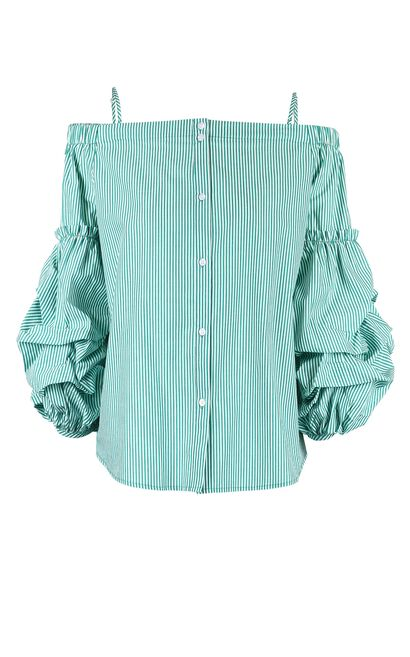 Vero Moda Women's Striped 3/4 Sleeves Shoulder Straps Shirt|318131552, Green, large