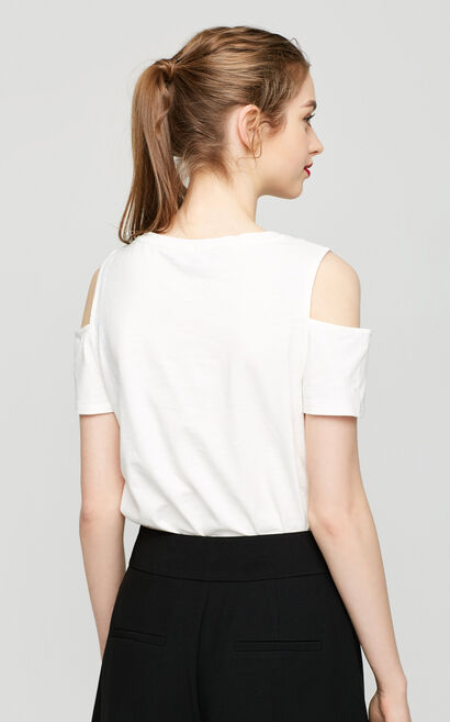 Vero Moda Letter Pattern Round Neckline Off-the-shoulder Straight Fit Short-sleeved T-shirt|317201548, Apricot, large