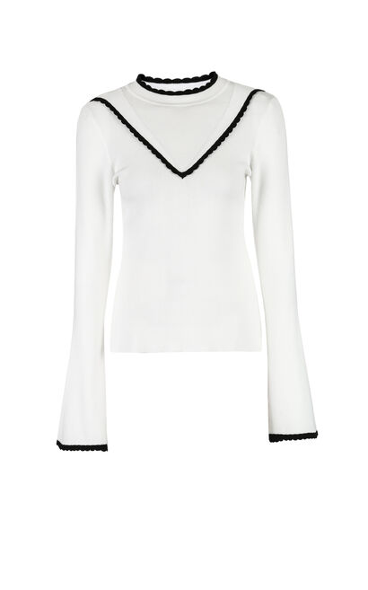 Vero Moda Women's Slim Fit Petal Collar Flared Sleeves Knit|318324512, White, large