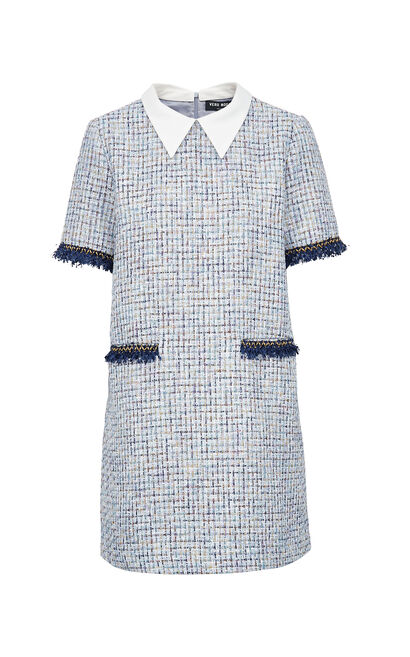 Vero Moda Colored Tweed Spliced Straight Fit Fringed Dress|31936Z529, Blue, large