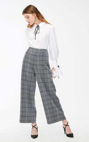 Vero Moda 2019 Plaid Concealed Zip Fly Wide-leg Pants |319150511