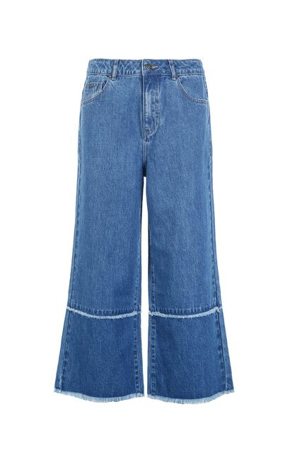 Vero Moda Raw-edge Cuffs High Waist Capri Jeans|31826I562, Blue, large